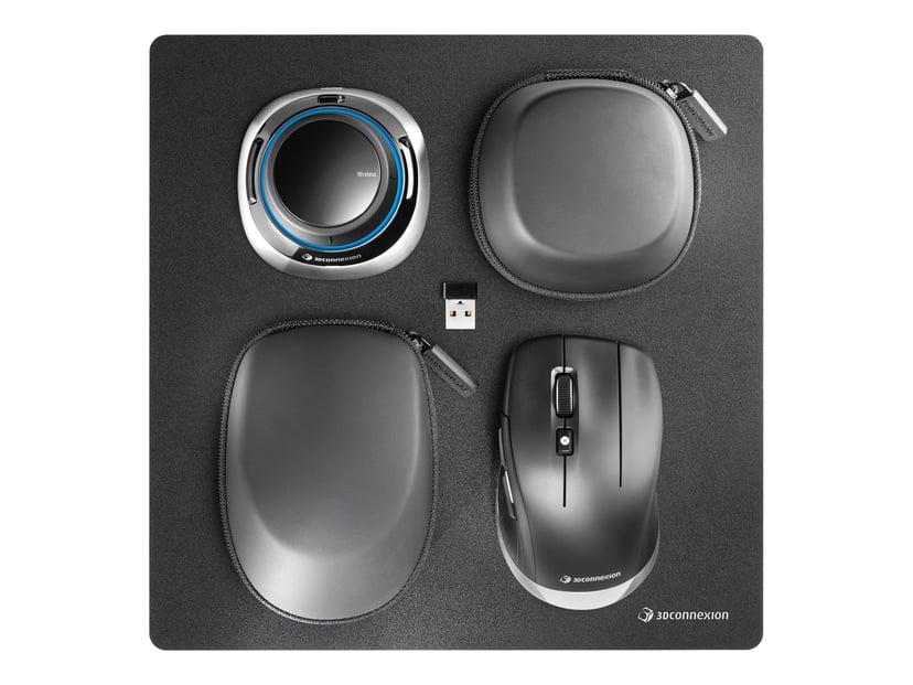 3DConnexion Spacemouse Wireless Kit 2 3D-mus Kabling; Trådløs Sort; Sølv