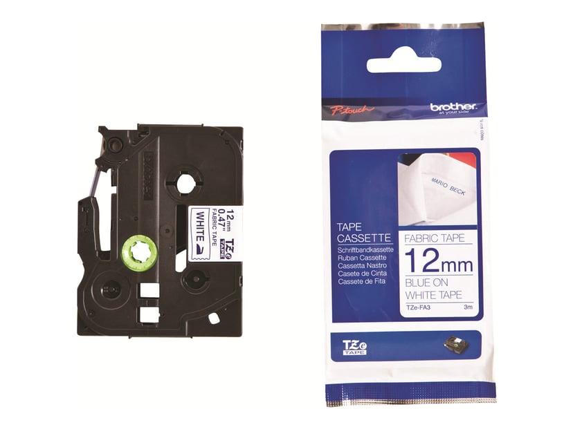 Brother Tape TZE-FA3 12mm Textil Hvit/Blå