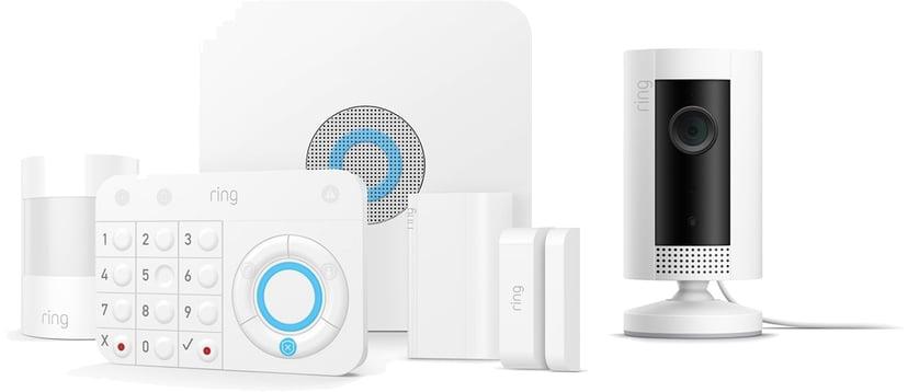 Ring Larmpaket med rörelsesensor, siren, dörrsensor och kamera