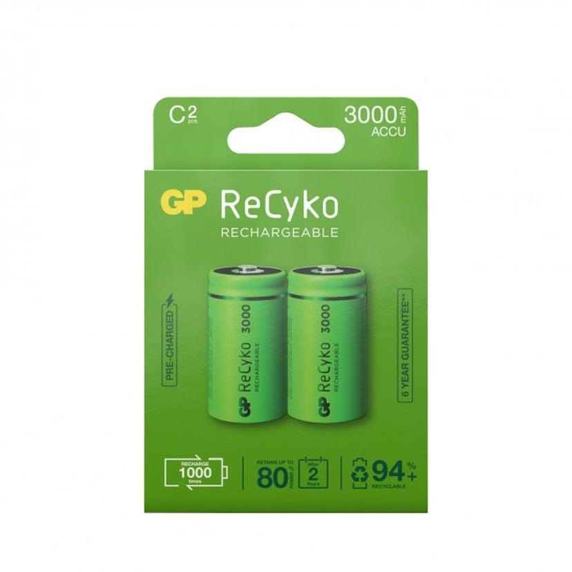 GP Batteri ReCyko 2 stk. C 3000mAh Genopladelige