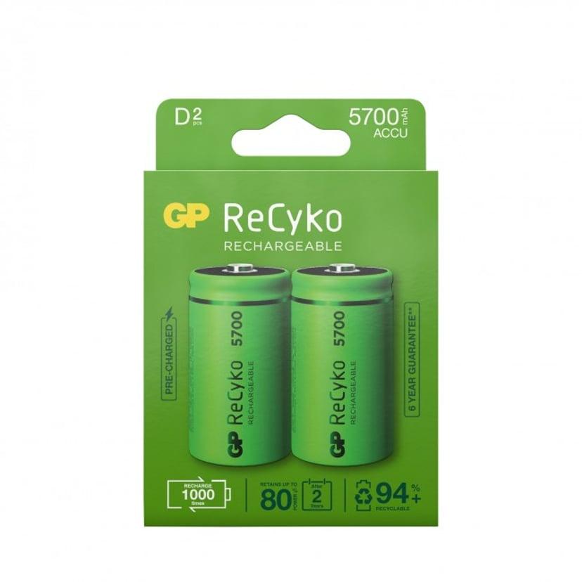 GP Batteri ReCyko 2 stk. D 5700mAh Genopladelige