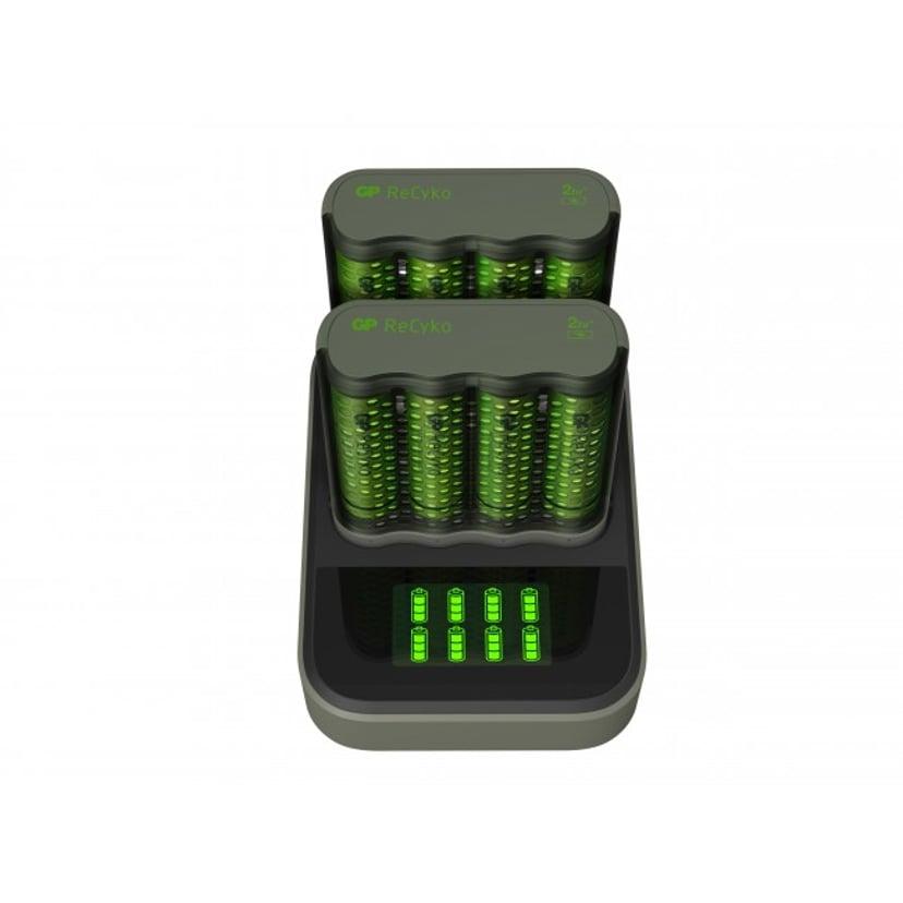 GP ReCyko Speed Charger M451 USB + Dobbelt opladningsdock + 8 stk. 2600mAh Batterier