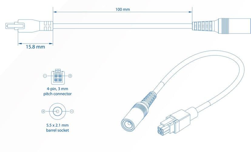 Teltonika 4-pin till DC-plugadapter