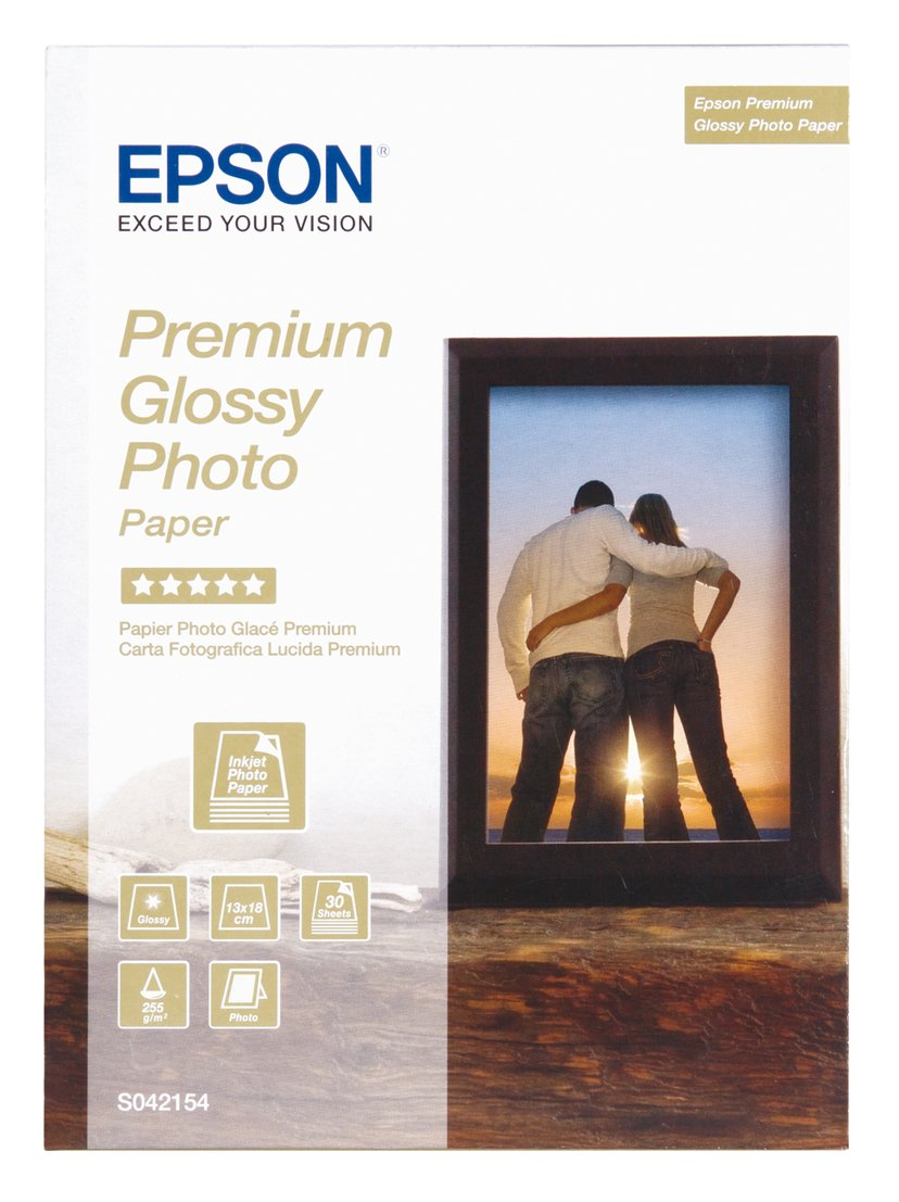 Epson Papper Photo Premium Glossy 13X18cm 30-ark 255G