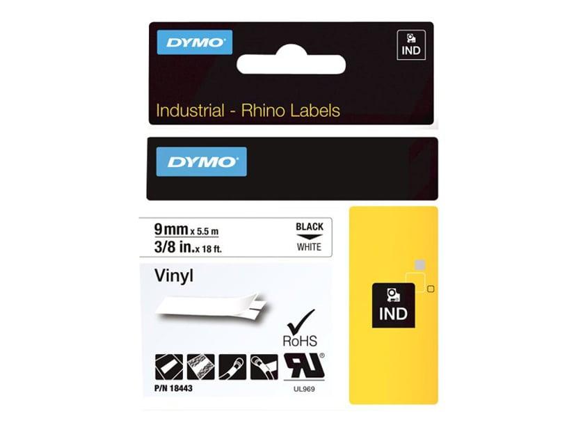 Dymo Tape RhinoPRO Perm Vinyl 9mm Svart/Vit