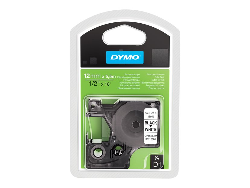 Dymo Tape D1 12mm Sort/Hvid Perm Poly