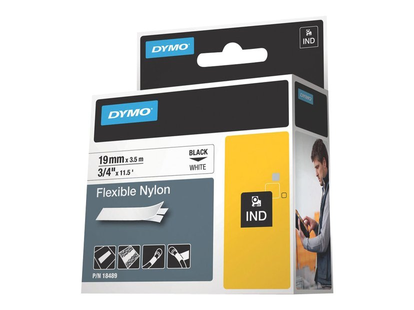 Dymo RhinoPRO Flex Nylon 19mm Sort/Hvid