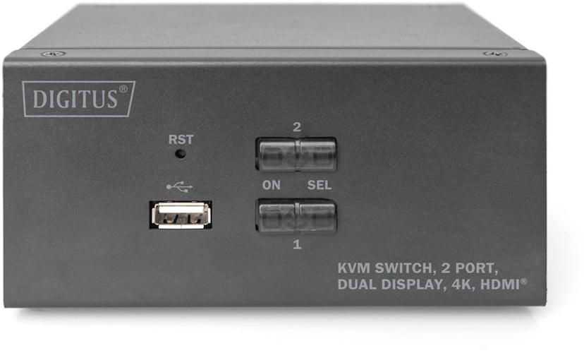 Digitus 2-port 4K HDMI KVM-switch til to skærme