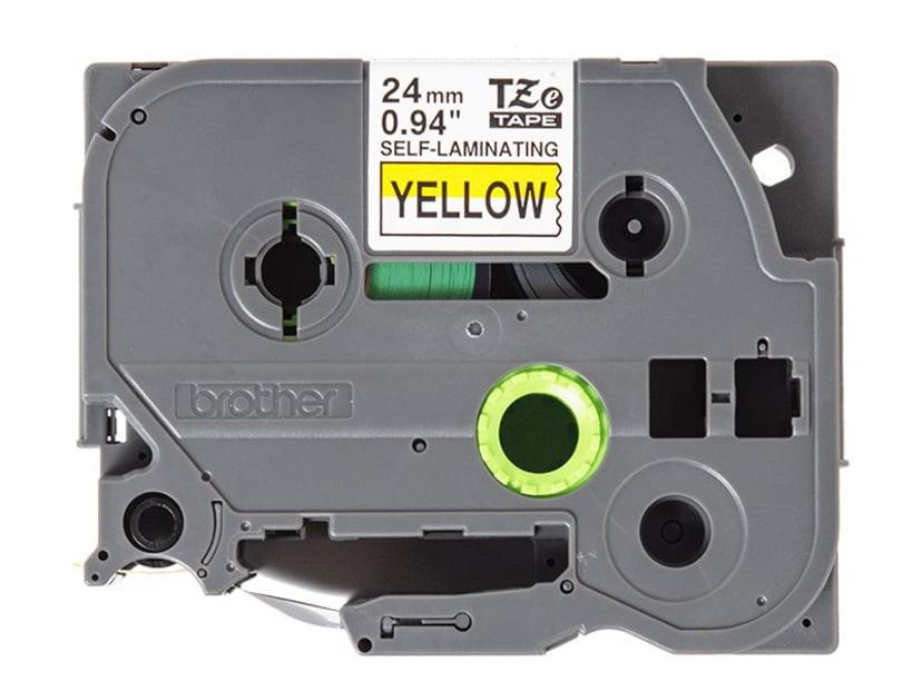 Brother Tape TZe-SL651 24mm Selvlaminerende Sort/ Gul