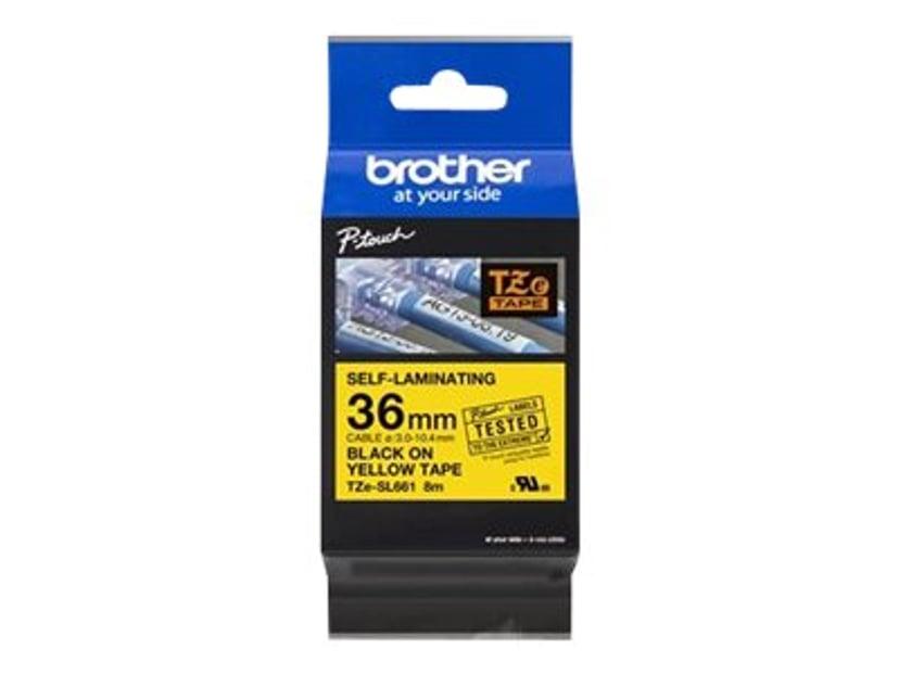 Brother Tape TZe-SL661 36mm Självlaminerande Svart/Gul