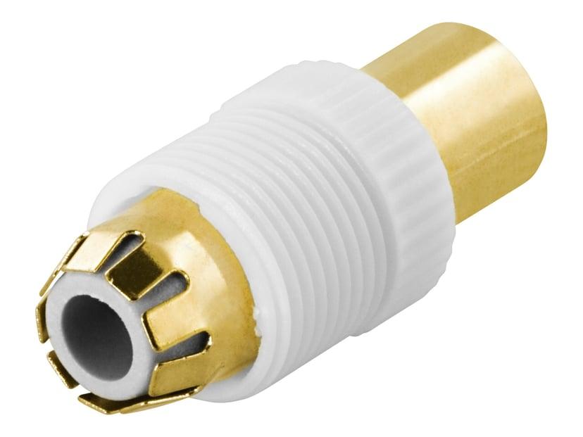 Deltaco Adapter F-kontakt Hane Vit