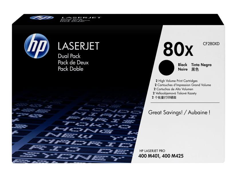 HP Toner Svart 80X 6.9K - CF280XD 2-Pack