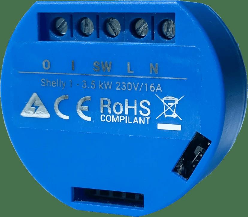 Shelly 1 WiFi enkanalig fjärrströmbrytare för inbyggnad 4-pack