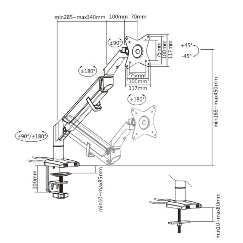 Prokord Gas Spring Monitor Arm USB