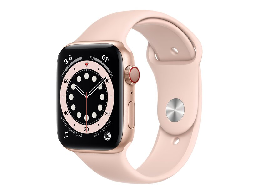 Apple Watch Series 6 GPS + Cellular, 44mm Gold Aluminium Case with Pink Sand Sport Band