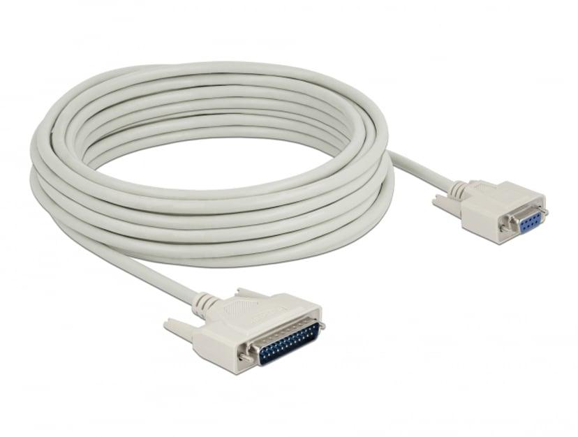 Delock Serial Cable D-sub 25 Male To D-sub 9 Female 10 M 10m 25 pin D-Sub (DB-25) Hane 9 pin D-Sub (DB-9) Hona