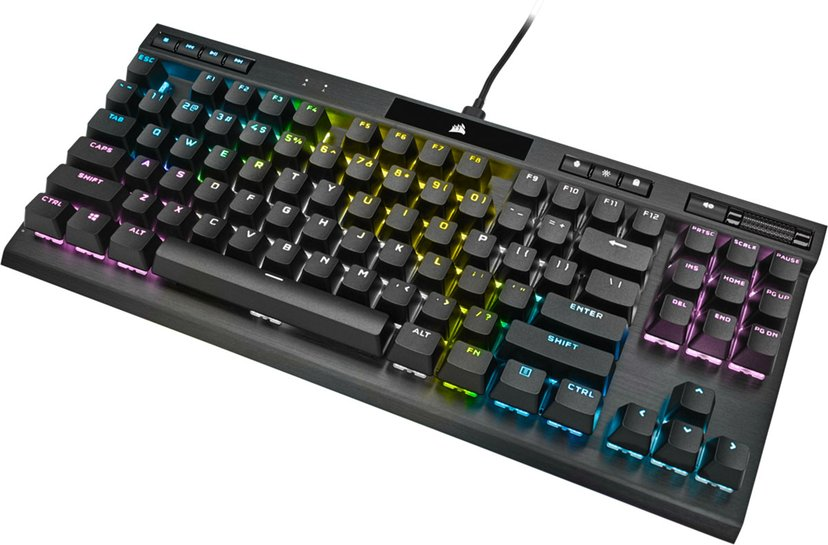 Corsair Gaming K70 RGB TKL Champion Series MX Red Tangentbord Kabelansluten Nordiska länderna Svart