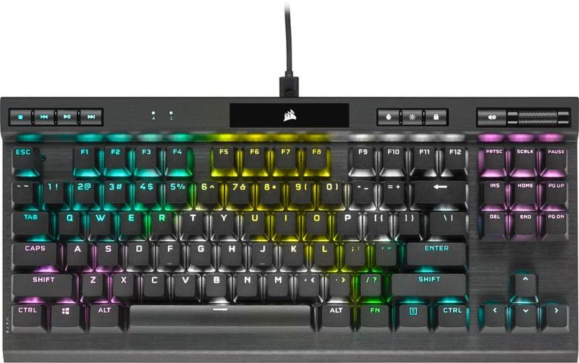 Corsair Gaming K70 RGB TKL Champion Series MX Red Kablet Tastatur Nordisk Svart