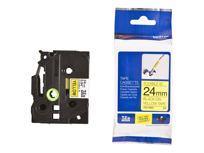 Brother Tape TZe-FX651 24mm Svart/Gul Flexible