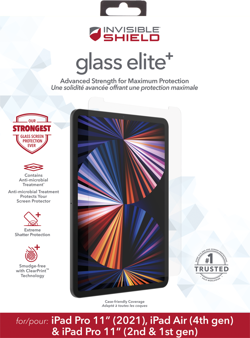 """Zagg ZAGG InvisibleShield Glass Elite+ iPad Air 10.9"""" (4th gen), iPad Pro 11"""" (1st gen), iPad Pro 11"""" (2nd gen), iPad Pro 11"""" (3rd gen)"""