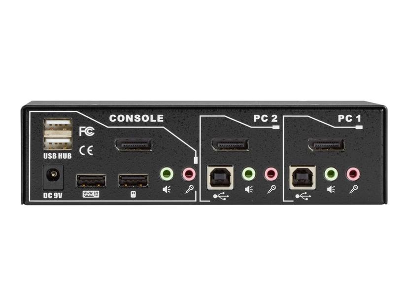 Black Box Desktop KVM Switch - 4K60 DP USB Edid 2-Port