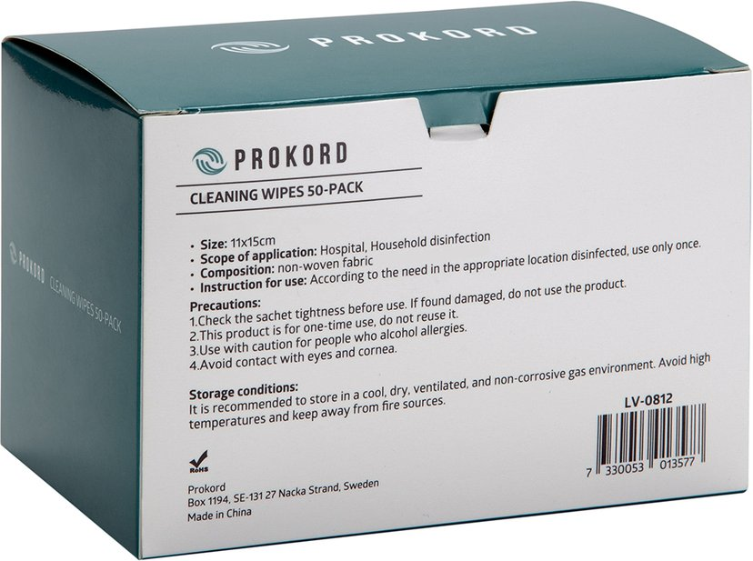 Prokord Prokord Cleaning Wipes 50-Pack