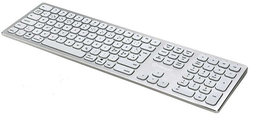 Voxicon Wireless Slim Metal Keyboard 295BWL BT + 2.4GHZ Tangentbord Trådlös Nordiska länderna Silver, Vit