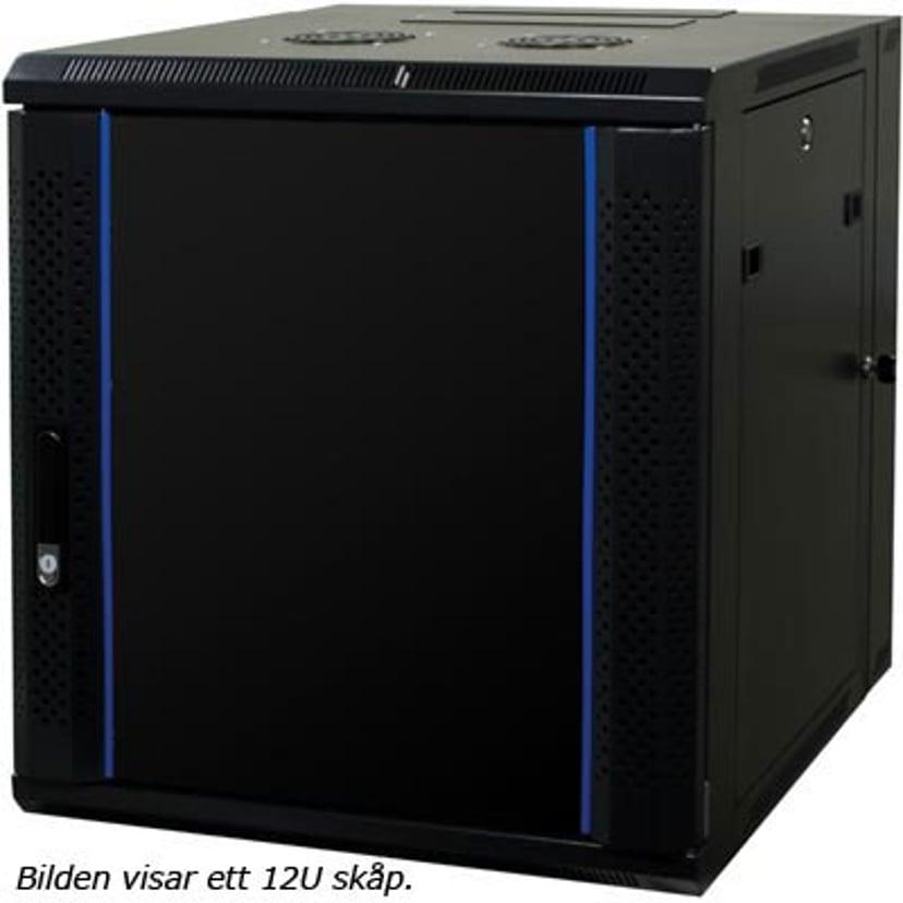 """Toten 19"""" Wall Cabinet 15U 600X600 Glassdoor Black"""
