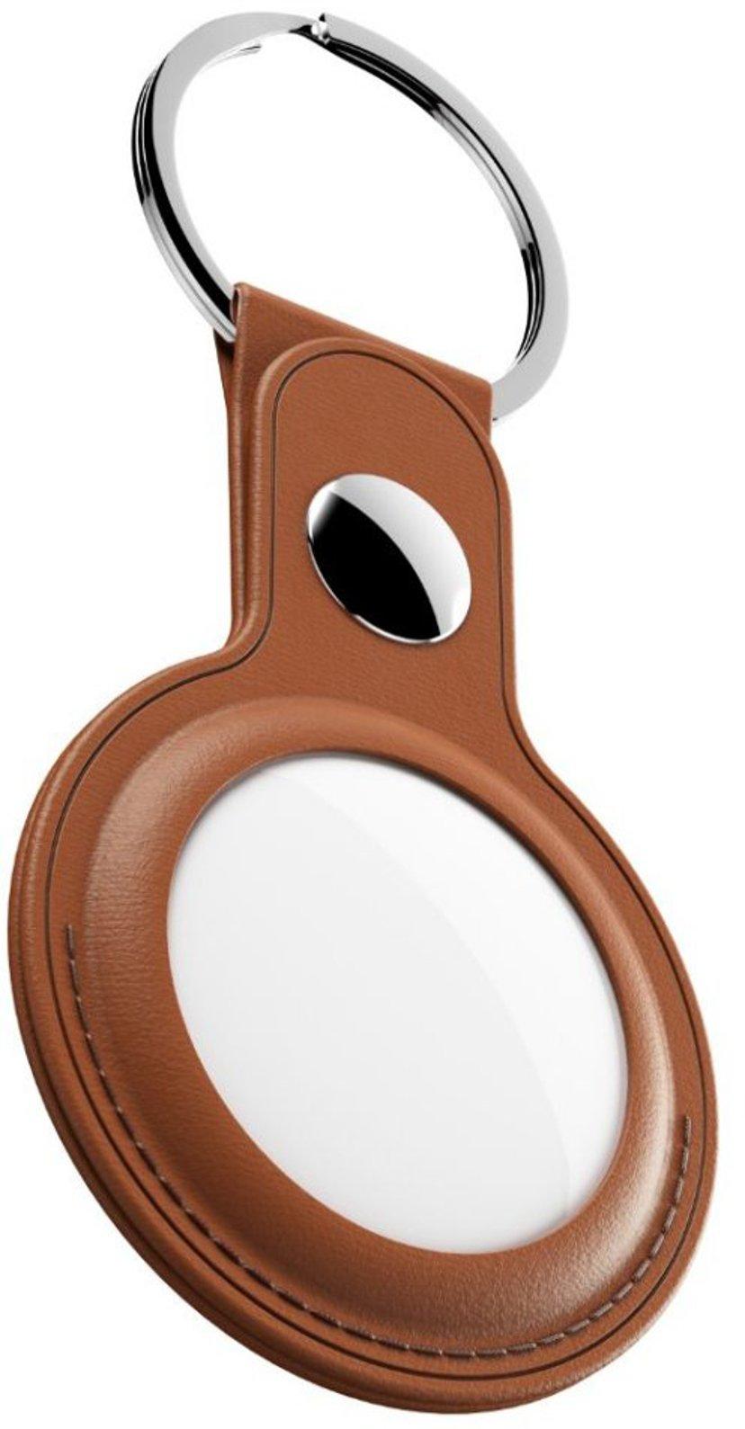 KEYBUDZ Leather Keyring For Airtag Tan