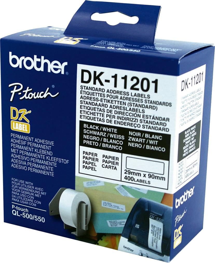 Brother Etiketter Adresse 29 x 90mm 400stk/Rull Hvit