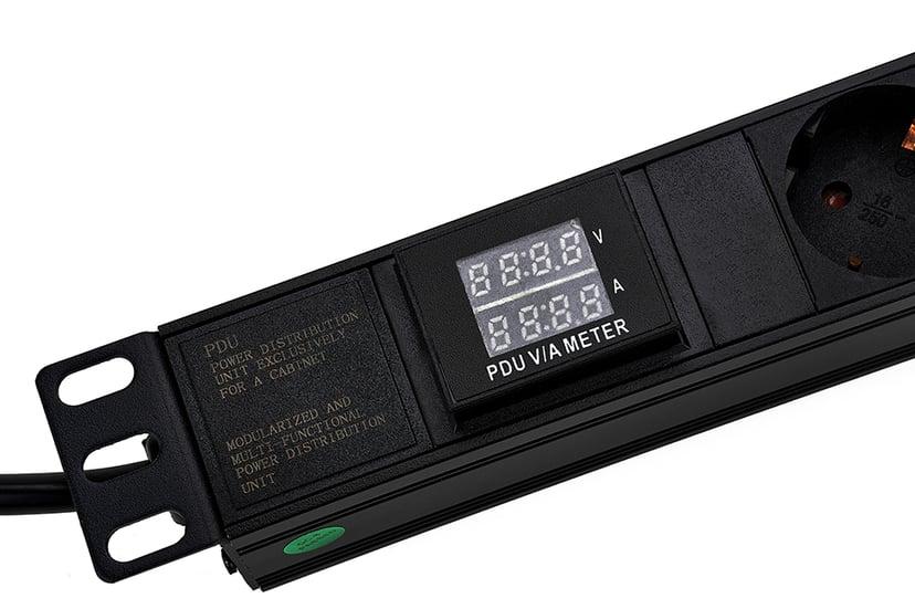 "Prokord 19"" Powersocket 7Xoutlets 2M Black V/a Meter Ström CEE 7/3 7st"