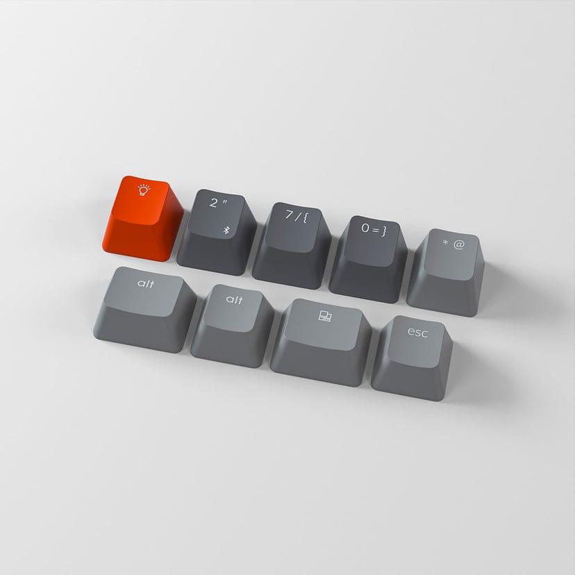 Keychron K2 White Plastic Red (Version 2) Tangentbord Kabelansluten, Trådlös Nordisk Grå, Svart