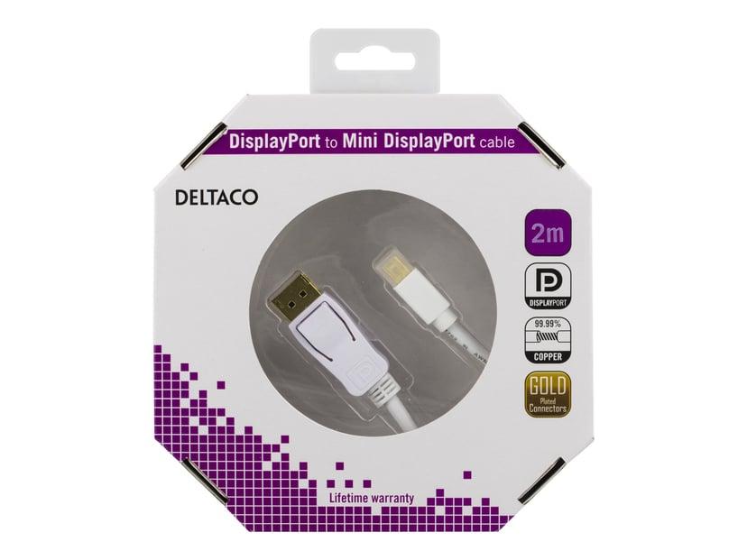 Deltaco - DisplayPort-kabel 2m DisplayPort Mini Hane 20-stifts DisplayPort Hane