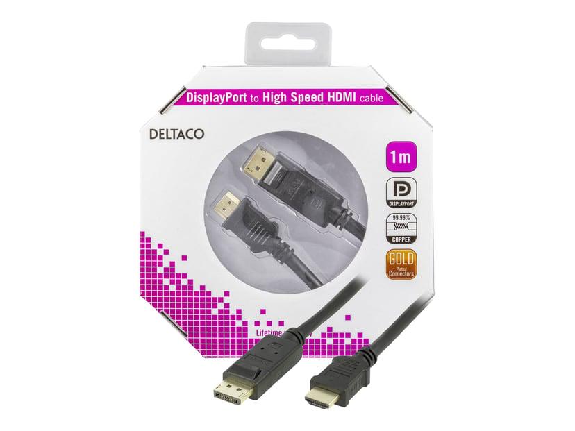 Deltaco DP-3010-K 1m DisplayPort Hane HDMI Hane