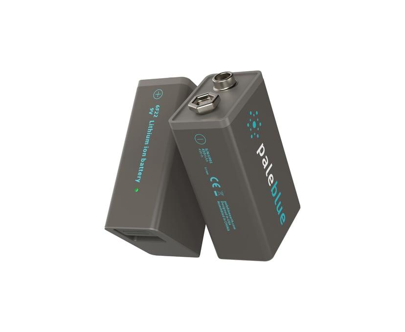 PALE BLUE Uppladdningsbart Batteri 9V 450mAh 2-Pack Inkl 2x1 Laddningskabel
