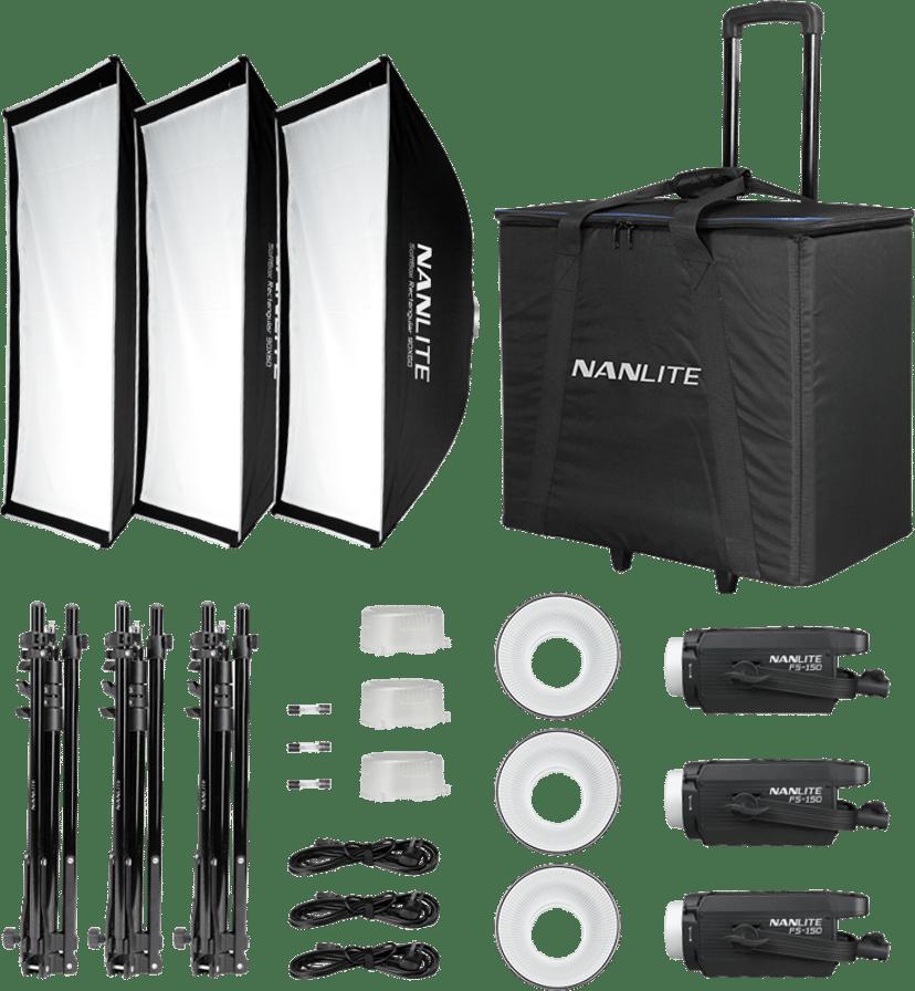 NANLITE FS-150 3-Light studio kit med stativ