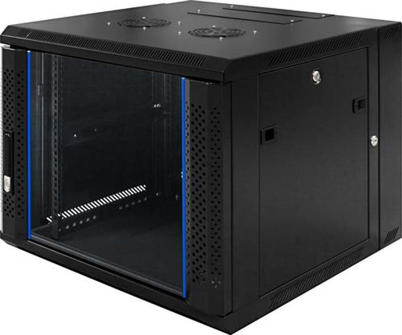 """Toten 19"""" Wall Cabinet 9U 600X600 Glassdoor/Backdoor Black"""