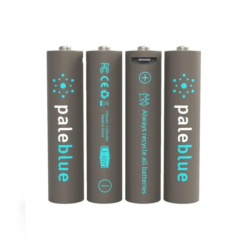PALE BLUE Uppladdningsbart Batteri AAA 750mAh 4-Pack Inkl 4x1 Laddningskabel