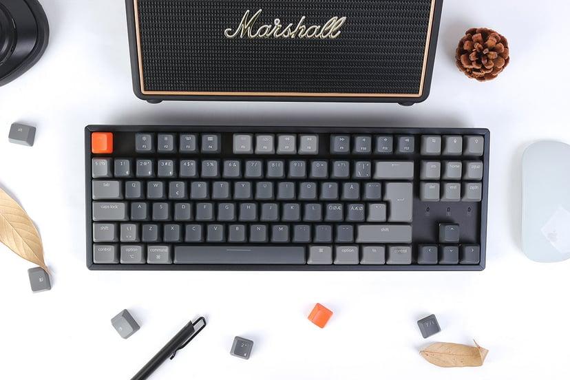 Keychron K8 RGB Aluminium Blue Tangentbord Kabelansluten, Trådlös Nordisk Grå, Svart
