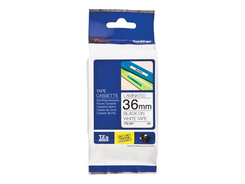 Brother Tape TZE-261 36mm Sort/Hvid