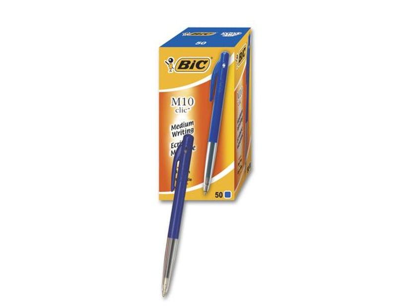 BIC Clic Kulepenn M10 Blå 50-Pack