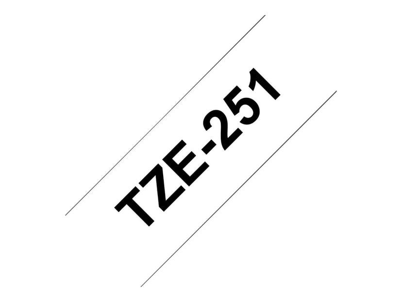 Brother Tape TZe-251 24mm Svart/Vit