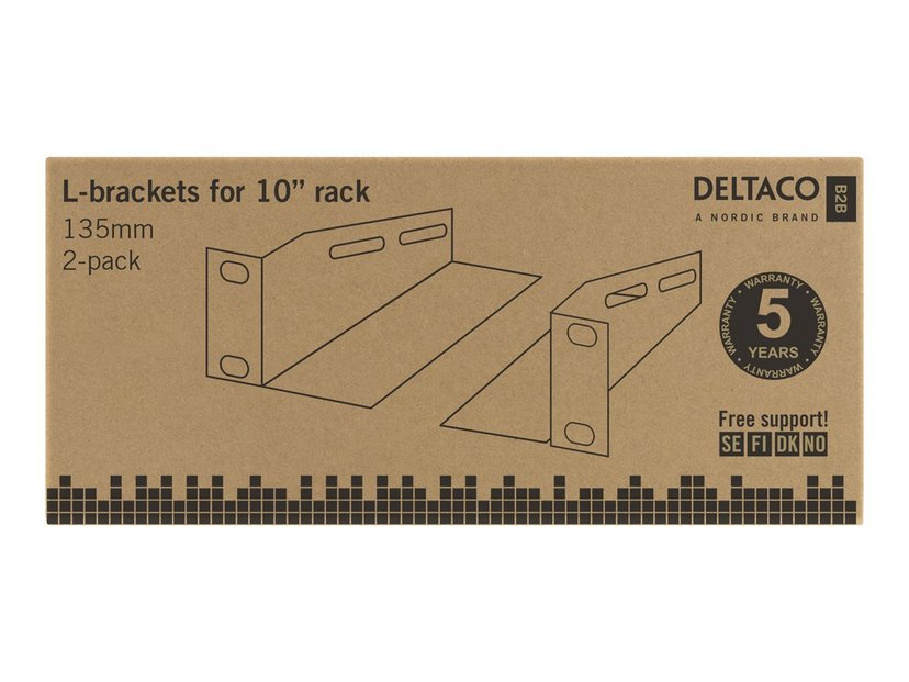 "Deltaco L-Support Rails For 10"" Cabinet 1U 136mm"