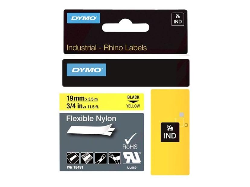 Dymo Tape RhinoPRO Flex Nylon 19mm Sort/Gul