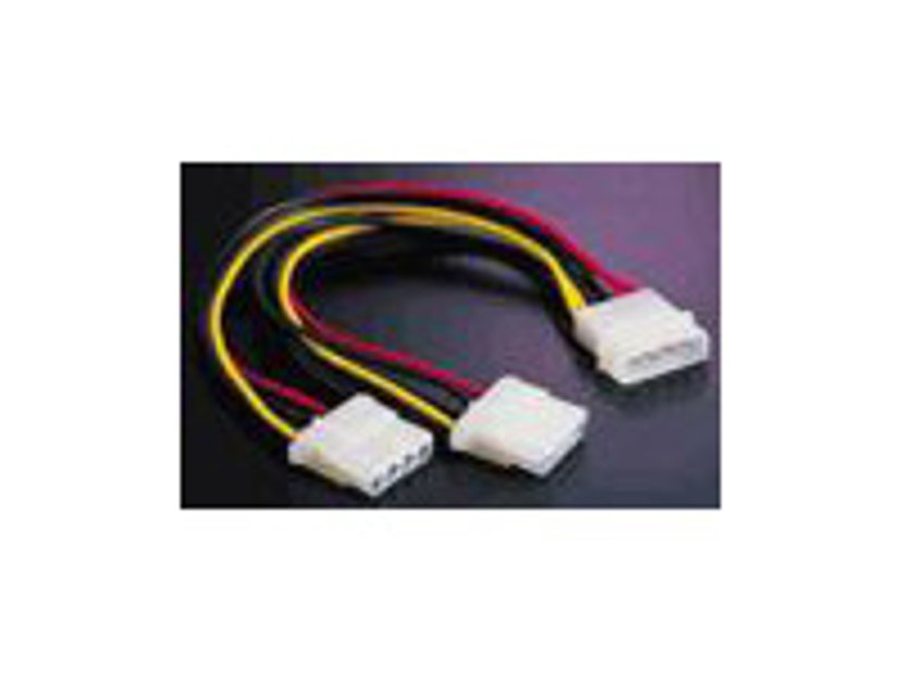 "Deltaco Y-CABLE POWER FOR 2 PCS 5.25"" UNITS 0.2M 4-PIN intern strøm Hun 4-PIN intern strøm Han"