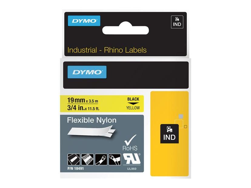 Dymo Tape RhinoPRO Flex Nylon 19mm Svart/Gul