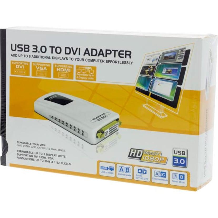 Deltaco Prime USB3-DVI Ekstern Videoadapter 2048 x 1152 DVI