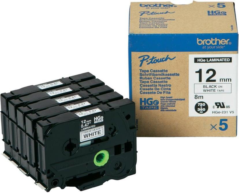 Brother Tape HGE-231V5 12mm Svart/Hvit 5-Pack