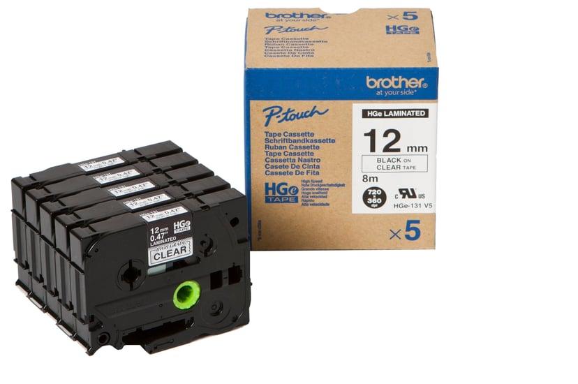 Brother Tape HGE-131V5 12mm Black/Clear5-Pack