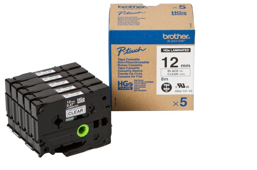 Brother Tape HGE-131V5 12mm Svart/Klar5-Pack